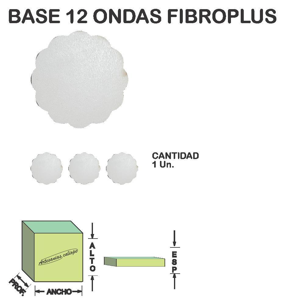 Figura Base 12 Ondas Fibroplus Blanco Mdf Laser - 1 un