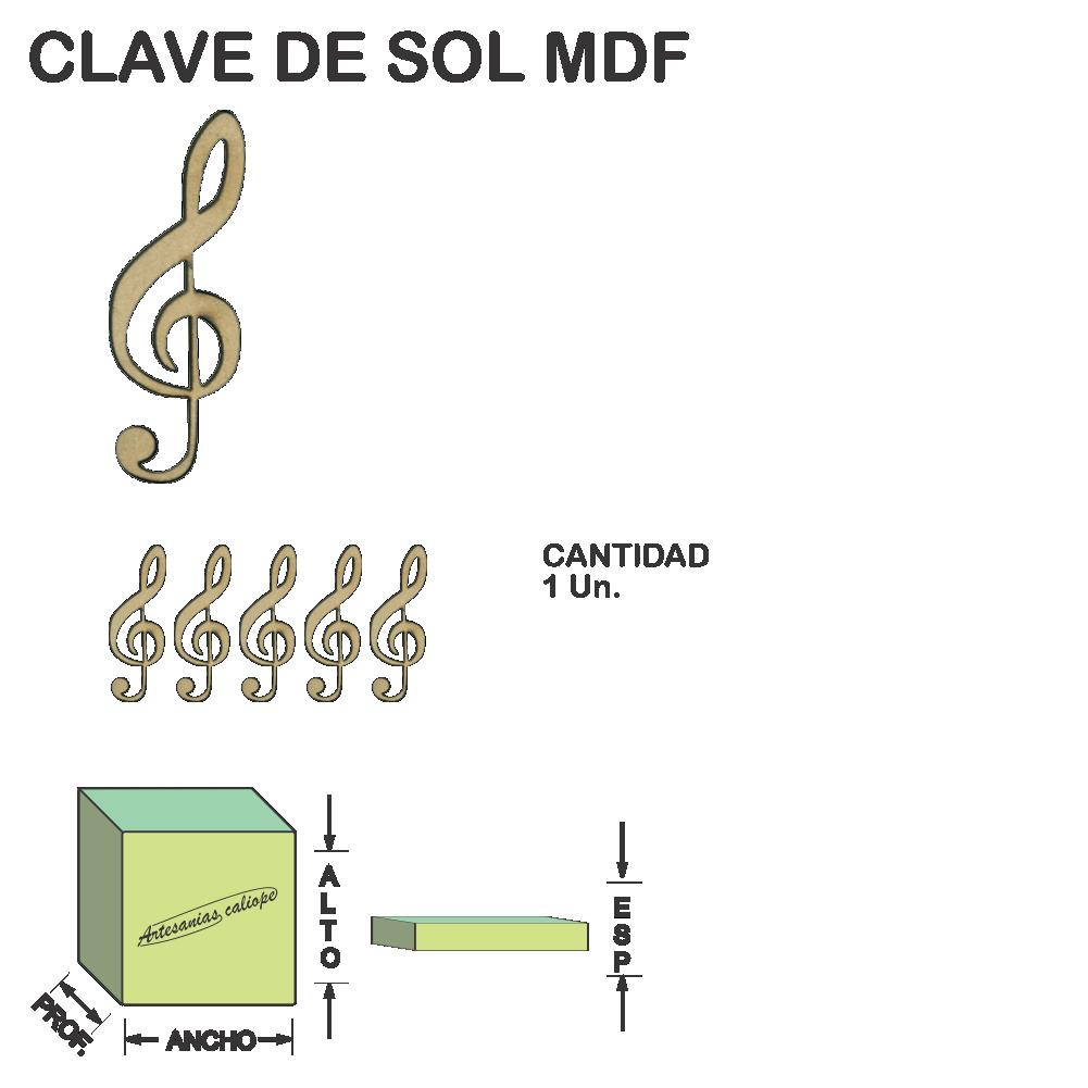 Figura Clave De Sol Base Fibrofacil Mdf Laser - 1 un